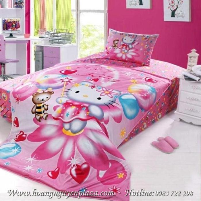 chăn ga gối Hello Kitty màu hồng cho bé yêu HN152