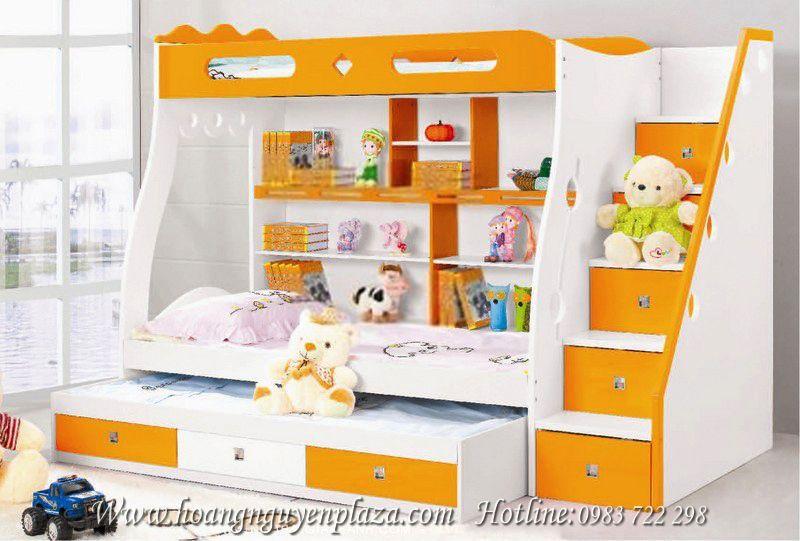 Giường 3 tầng màu cam cho bé