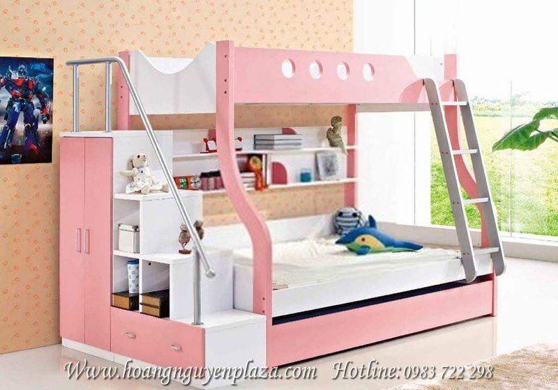 Giường tầng màu hồng ngọt ngào cho bé gái N644 Giuong-ngu-3-tang-8021B_compressed