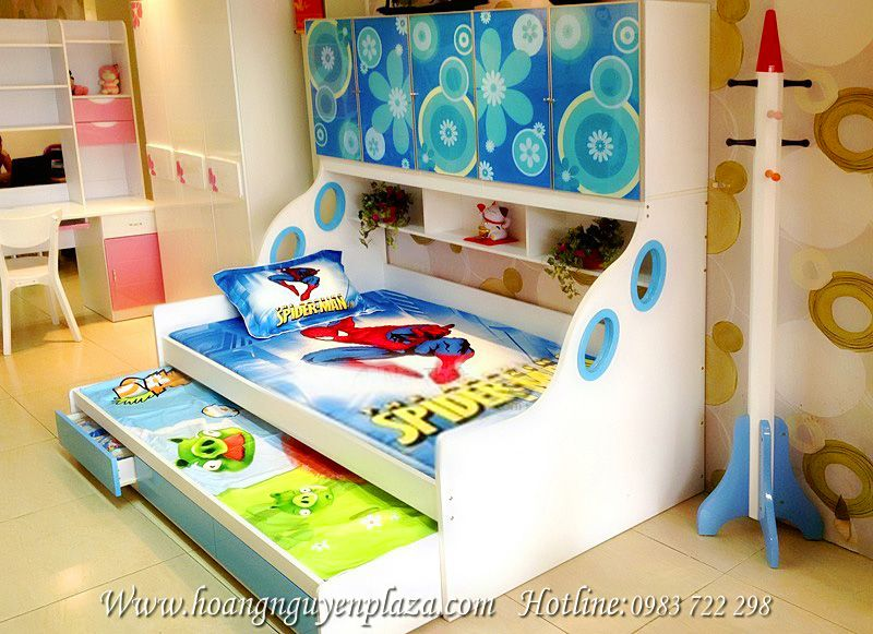 Giường 2 tầng xanh dương Adam
