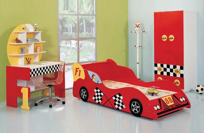 Phòng ngủ hình xe ô tô đua F1 màu đỏ