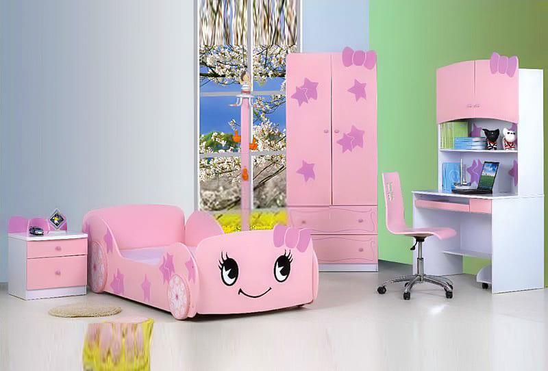 Phòng ngủ nơ hồng dễ thương