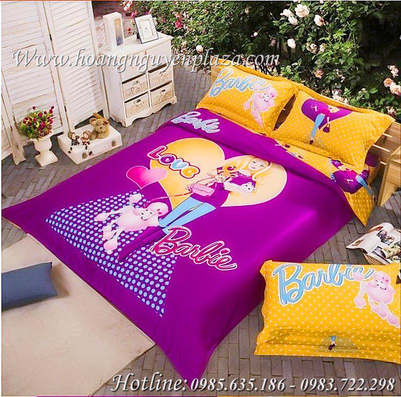 chăn ga gối hình công chúa Barbie màu tím