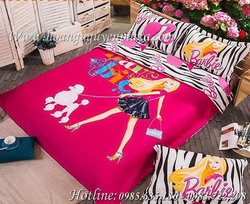chăn ga gối công chúa Barbie màu hồng