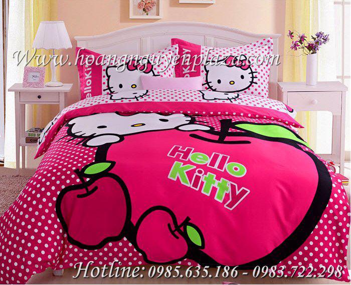 Chăn ga gối Hello Kitty quả táo HN169