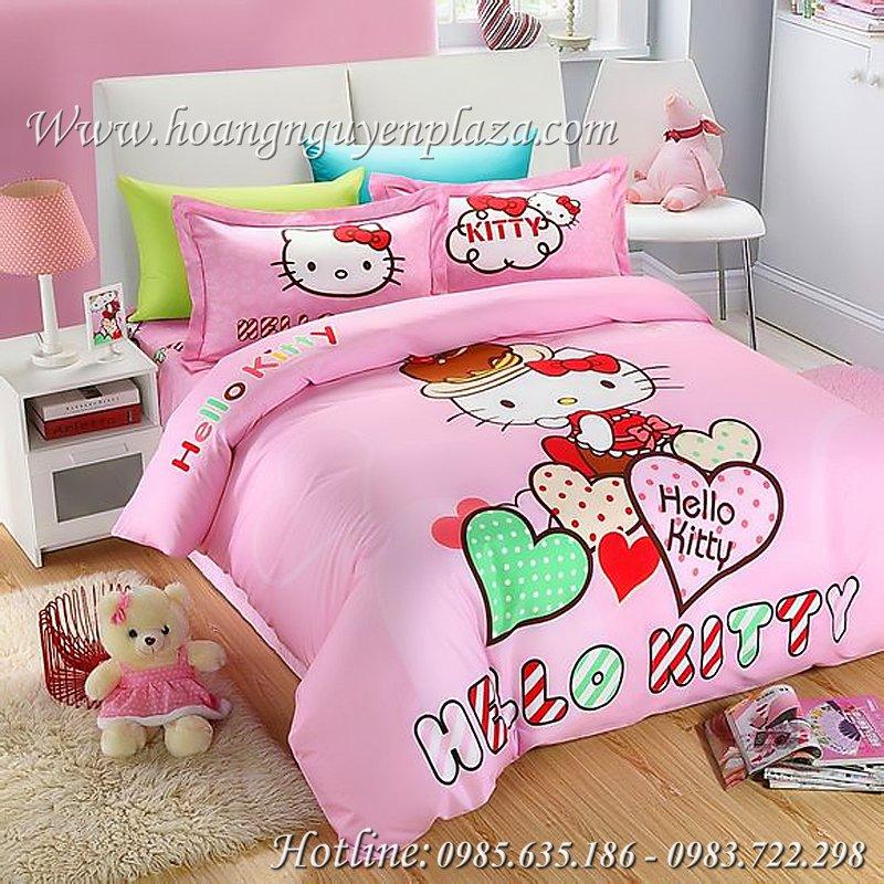 Chăn ga gối Hello Kitty màu hồng HN170