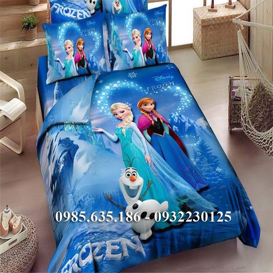Chăn Ga Gối Hoạt Hình Nữ Hoàng Băng Giá Frozen HN189