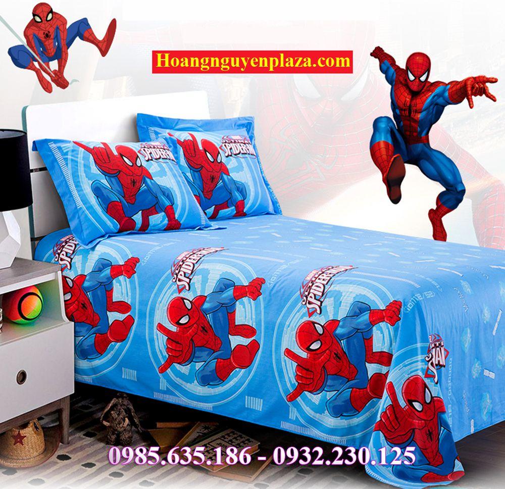 chăn ga gối người nhện cho bé trai spider man