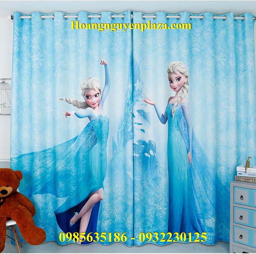 Rèm cửa hình Nữ Hoàng Băng Giá Elsa Anna
